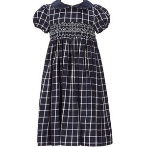 Edgehill Collection Plaid Smocked A-Line Dress